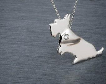 Scottish Terrier  Handcrafted sterling silver necklace