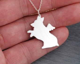 Corgi Pembroke Welsh Corgi dog Memorial angel gift  Handcrafted sterling silver necklace