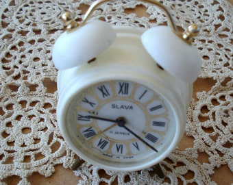 Vintage Soviet Slava Alarm Clock/ Two Bells Clock/ Mechanical Clock/ Home Décor/USSR/1980s
