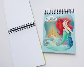 Disney Princess Ariel Little Mermaid Little Golden Book Upcycled Sketchbook Notebook, Drawing Pad