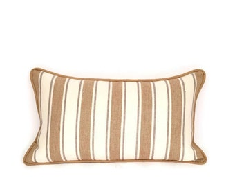 Modern Accent Striped Pillow  ,Gold, Grey and Cream Contemporary Accent Pillow for your Home Decor, Rectangle Throw PillowP-13-110