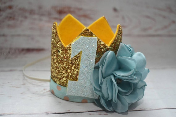 1st birthday crown, custom birthday hat, birthday photo prop, baby birthday outfit, Princess crown, mint and gold crown