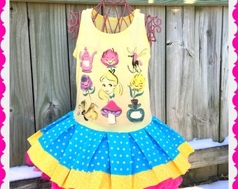girls alice in wonderland dress 4/5 6/6x 7/8 10/12 ready to ship