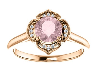 Morganite Diamond 14K Rose Gold Vintage Floral Style Halo Engagement Ring, Round Gemstone