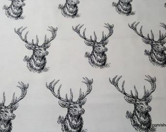 Flannel Fabric - Black White Deer Heads - 1 yard - 100% Cotton Flannel
