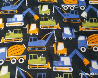 Flannel Fabric - Construction Trucks on Black - 1 yard - 100% Cotton Flannel