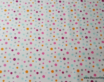 Flannel Fabric - Bright Multi Dot - By the yard - 100% Cotton Flannel