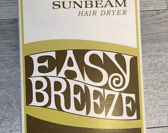 Sunbeam Easy Breeze Hair Dryer NEW Never Used in original box 1970's