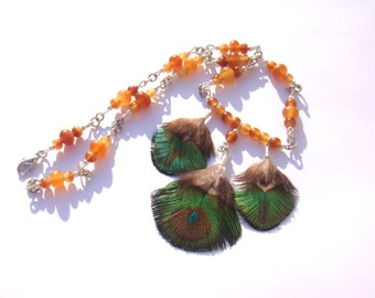 Peacock and Golden Horn: 41.5 cm Choker necklace