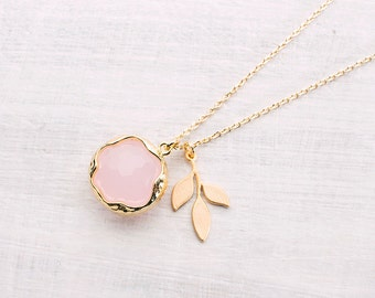 Pink ball necklace gold plated