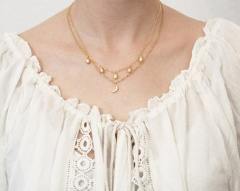 Layering necklace moon