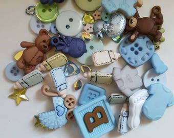 Cute lot of Baby Boy buttons and embellishments