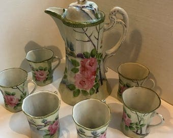 Vintage Hand Painted Nippon Hot Chocolat Set with Six Cups