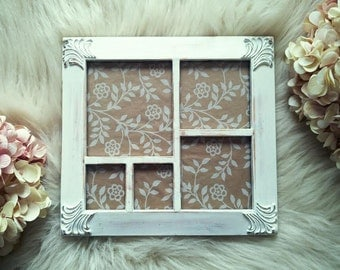 S A L E Picture Frame, Shabby Chic, Wedding Picture Frame, Ornate Multiple Photo Frame, White, Distressed Beach, Cottage Decor