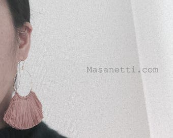 Chunky fringe earrings chunky tassel earrings boho hippie tassel earrigns hot pink