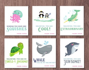 Ocean Valentines Day Cards Kids Valentine Cards School Ocean Animals Class  Whale Shark Penguins Jellyfish Turtle
