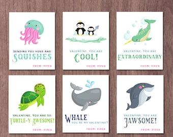Ocean Valentines Day Cards Kids Valentine Cards School Ocean Animals Class Whale Shark Penguins Jellyfish Turtle Narwhal Valentine Custom
