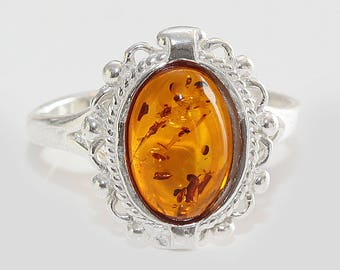 Baltic amber ring - Sterling silver ring - Amber ring - Amber Silver Ring - Natural amber ring - Gift for her - Gift for women - US 7 3/4