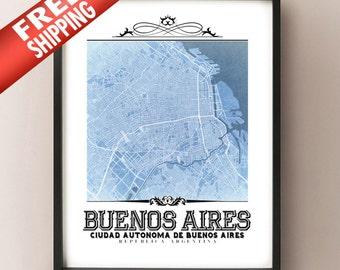 Buenos Aires Vintage Style Blueprint Map Art Print - Buenos Aires, Argentina City Map Decor