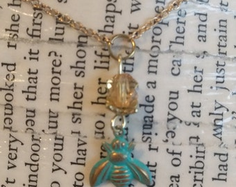 Blue Bee & Honey Necklace