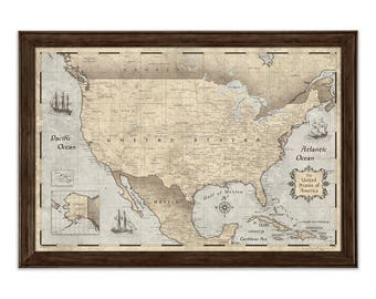 Rustic Vintage Map Poster - USA Map