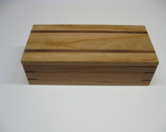 Wooden Box, Valet Box, Keepsake Box, Jewelry Box made from Cherry with Black Walnut accents #192