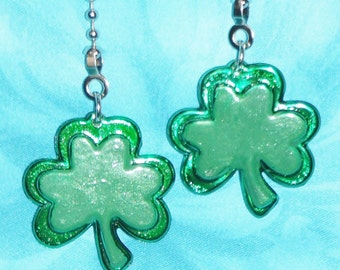 Set of Two ~ Clovers Green St. Patricks Day ~ Ceiling Fan Pulls