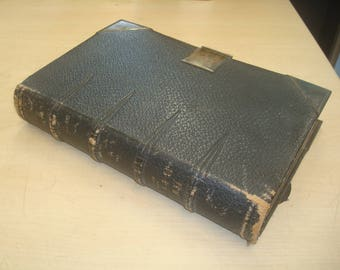 3 Vintage leather bound bibles with working clasps