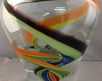 Vintage Murano ART GLASS RAINBOW vase