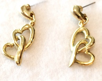"Vintage Gold Tone 1.5""  Gold Tone  Earrings Pierced Hearts"