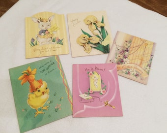 Vintage Set of 5 Easter Cards Rare Used But Collectible