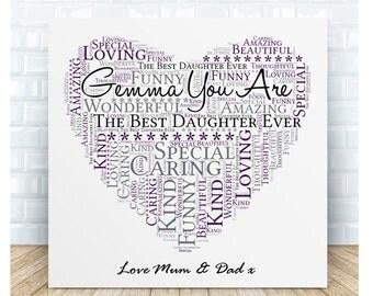Personalised Daughter Word Art Ceramic Plaque.