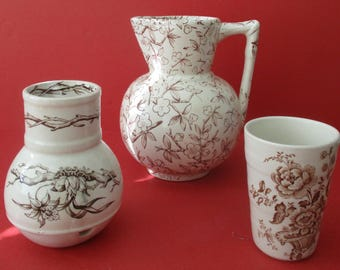 Three-Piece Victorian Brown Transfer Ware Mixed Set