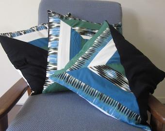 Set of 3 decor decorative pillow cushion covers blue green black white geometric aztec ikat colour block