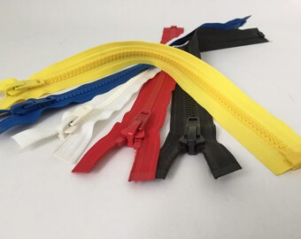 16 inch YKK ZIPPER CLOSURE one way N 10 for fur leather coat jacket Black White Blue Red Yellow