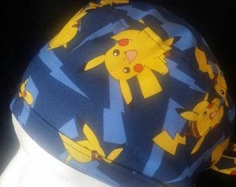 Pikachu Pika-Pika Pokemon Go! Tie Back Surgical Scrub Hat