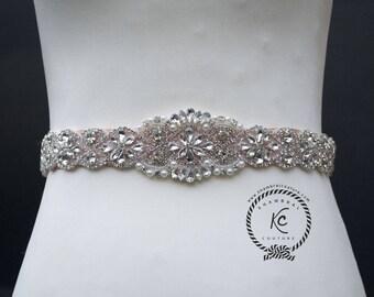 """22"""" Wedding Belt, Wedding Sash, Rhinestone Sash, Bridal Sash, Bridal Belt, Crystal Rhinestone Belt, Bridesmaid Belt with Felt Backing"""