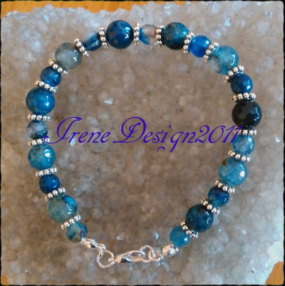 Facetted Blue Vein Agate Bracelet by IreneDesign2011