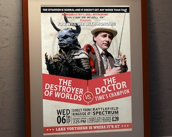 Doctor Who 7th Doctor Vs The Destroyer Faux Boxing Poster - Sylvester McCoy The Seventh Doctor