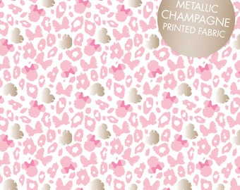 Disney Fabric Minnie Mouse Fabric Leopard Print in Pink with Champagne Metallic Print From Camelot 100% Cotton