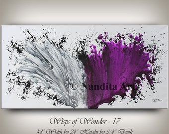 Large Abstract Art, Modern Art Canvas, Living Room Decor, Purple Art Painting, Contemporary Art, Gray Wall Art, Wall Hanging, Art Work