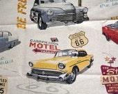 Destash Fabric - 1 yard - Remnant - Retro cars fabric - Medium Weight Cotton Linen Fabric - Vintage cars fabric - fabric with cars