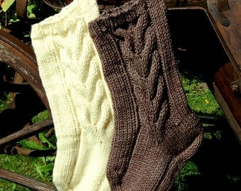 Cable Knit Christmas Stocking , Knitted Christmas Stocking, Hand Knit Stocking, Christmas Gift