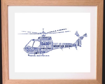 Personalised Helicopter Word Art Gift