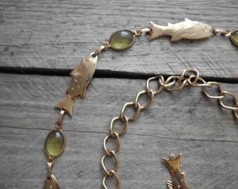 Gold Tone Fish Chain Belt