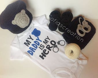 Baby police outfit-Baby cop outfit-Newborn police hat and diaper set-Newborn baby police outfit-Baby police set-Photo prop-Police hat-Police