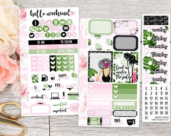 Summer Girl Personal Weekly Kit || Planner Stickers