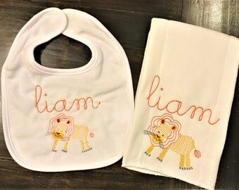 Baby Burp Cloth & Bib Set- Lion
