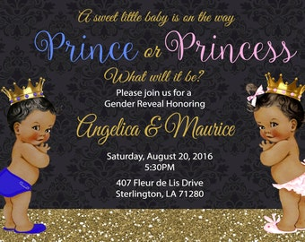 Prince or Princess, Boy, Girl, Prince, Princess, Gender Reveal, Baby Shower, Invitation