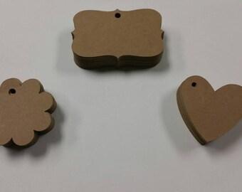 50 Kraft tags/Kraft heart tags/Kraft scallop circle tags/Small tags/Kraft brown tags/Brown Kraft tags
